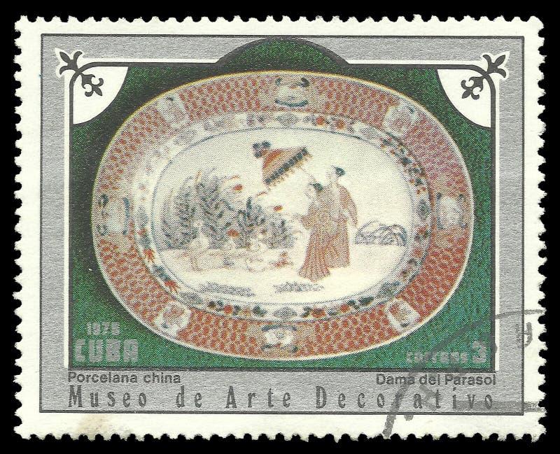 有遮阳伞的中国瓷盘夫人 免版税库存图片