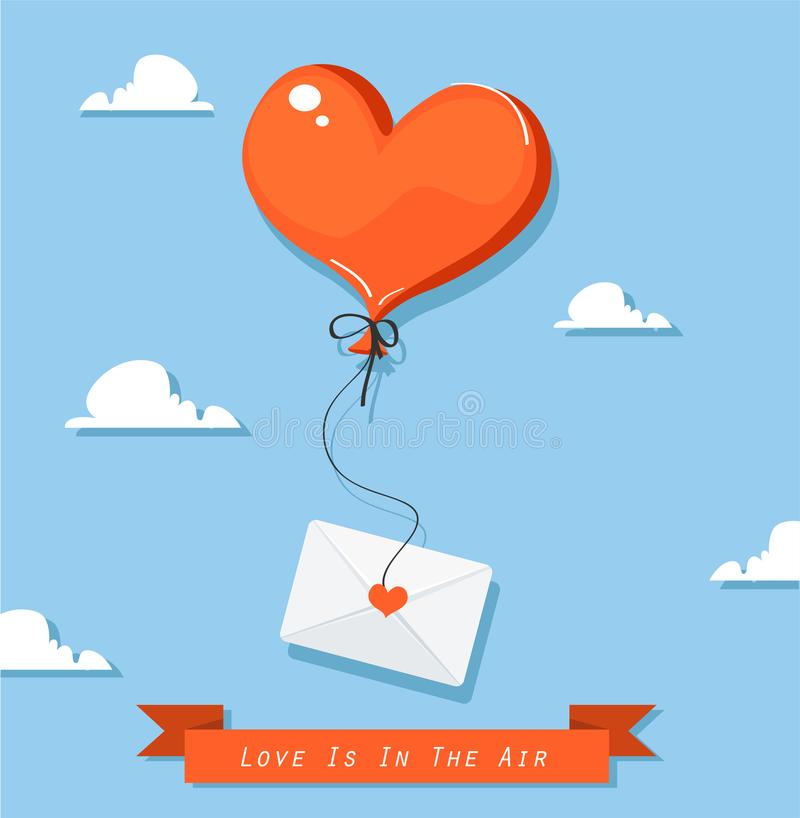 有邮件象的心形的气球 库存例证
