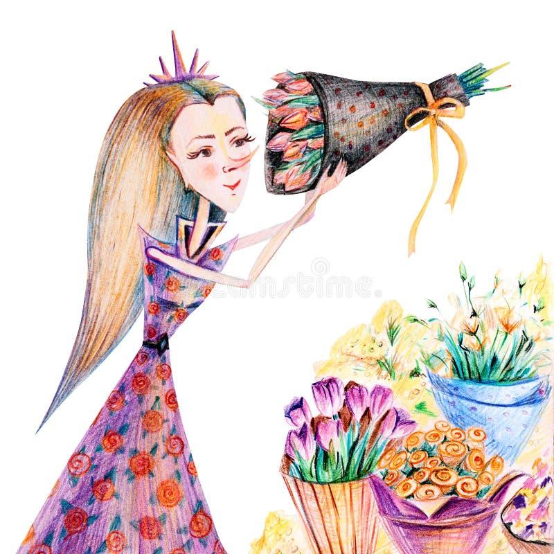 有郁金香、玫瑰、南北美洲香草和含羞草花束的女孩  皇族释放例证