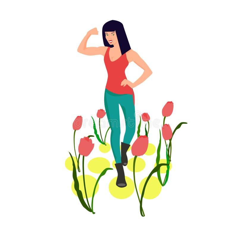 有郁金香的st坚强的深色的现代时髦的妇女3月8日的标志 库存例证