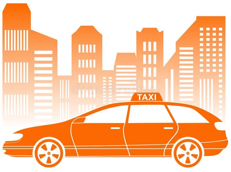 有都市风景象的出租汽车 皇族释放例证