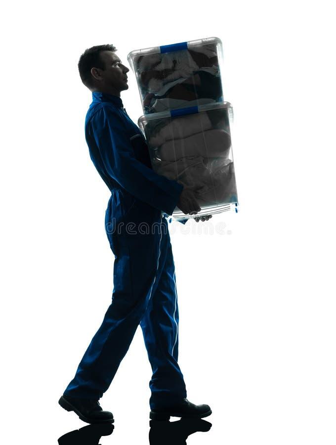 有配件箱剪影的搬家工人 免版税库存照片