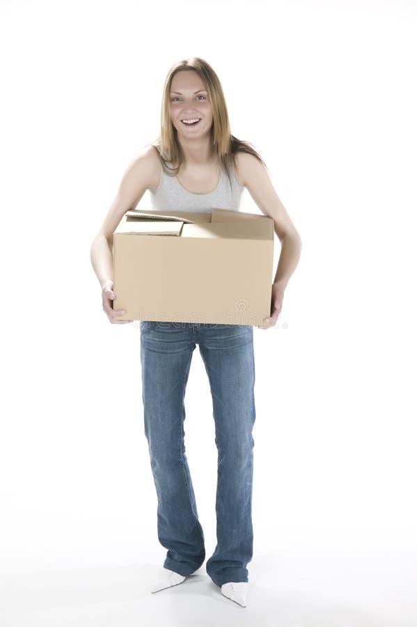 有配件箱的可爱的妇女 库存图片