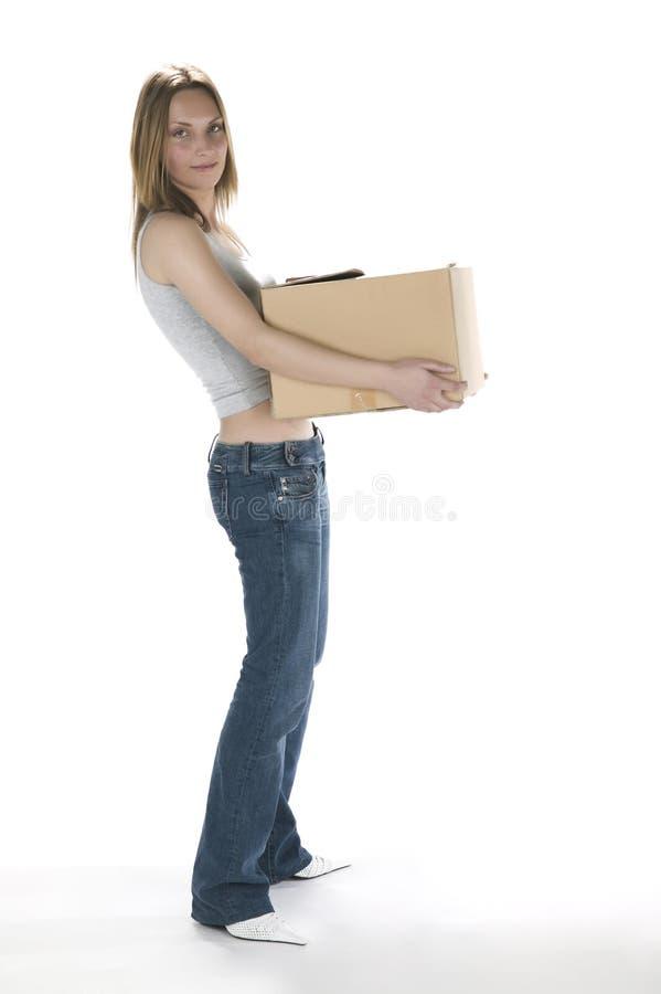 有配件箱的可爱的妇女 图库摄影