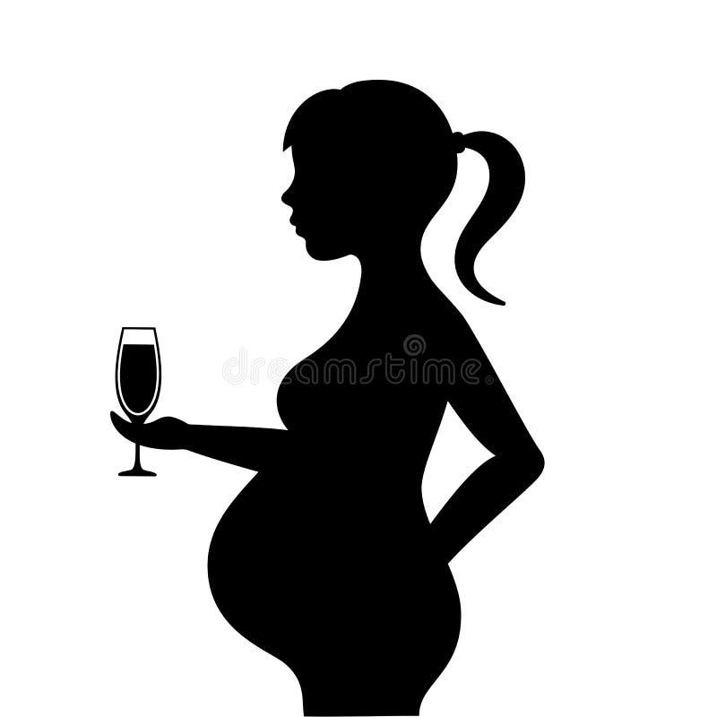 有酒精饮料传染媒介象的孕妇 皇族释放例证