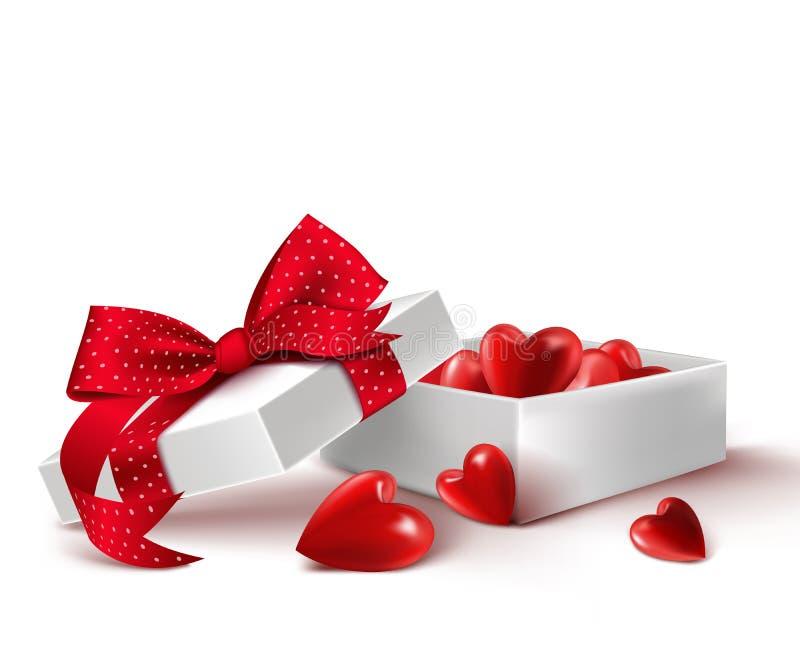 有里面气球心脏的现实3D白色礼物盒 向量例证