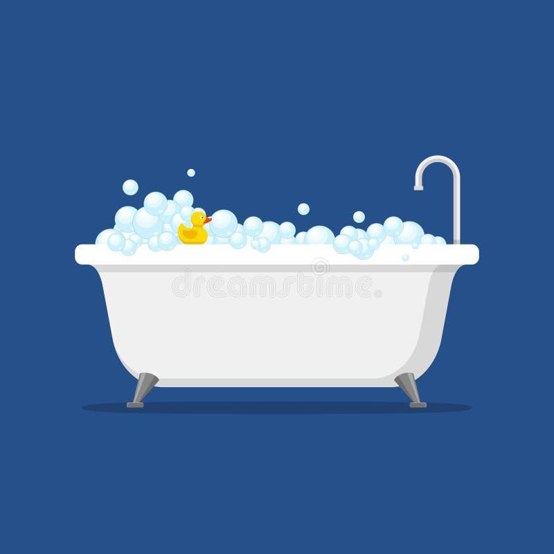 有里面泡沫的泡影和在蓝色背景隔绝的浴黄色橡胶鸭子的浴缸 在平的样式的巴恩时间 向量例证