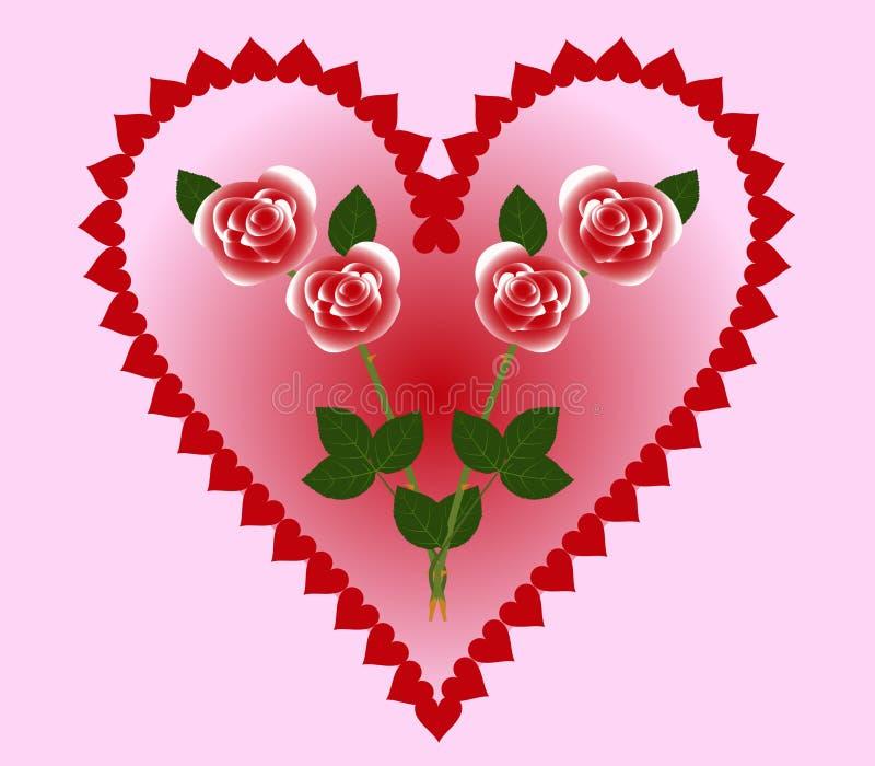 有重点和玫瑰的华伦泰 免版税图库摄影