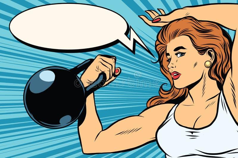 有重量的坚强的女子运动员 库存例证