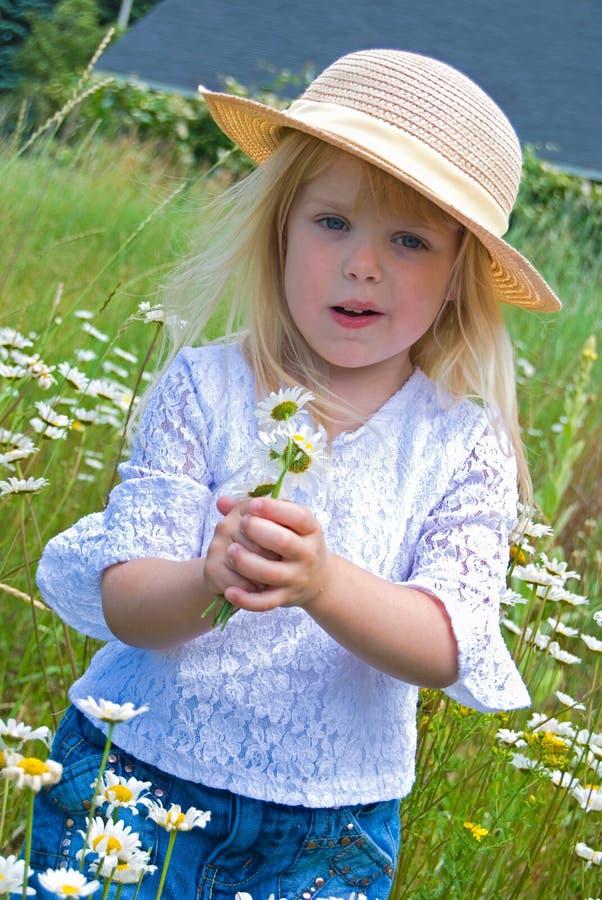 有野生雏菊的小白肤金发的女孩 库存照片