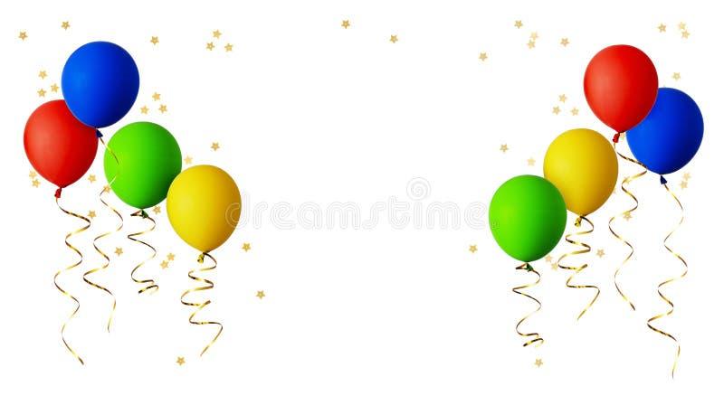 有金丝带和星的红色,蓝色,绿色和黄色气球 免版税库存图片