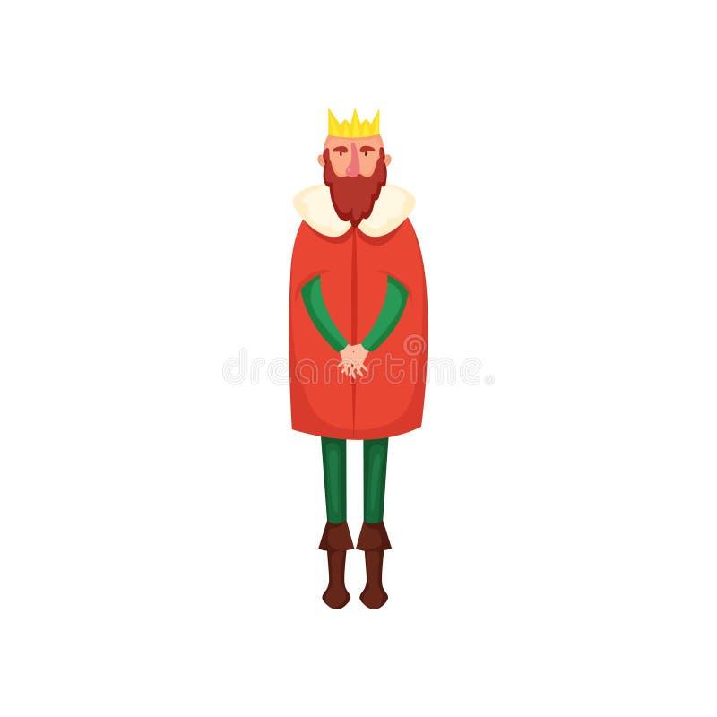 有金冠和绿色衣裳的逗人喜爱的红色头发国王 皇族释放例证