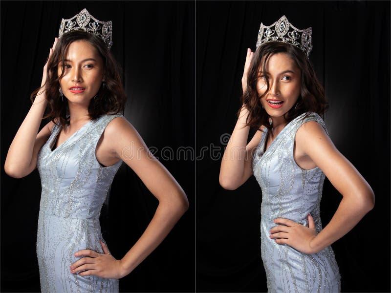有金刚石冠的Pageant Contest Gown小姐礼服 免版税库存照片