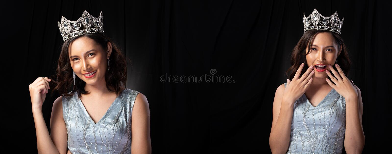 有金刚石冠的Pageant Contest Gown小姐礼服 免版税图库摄影