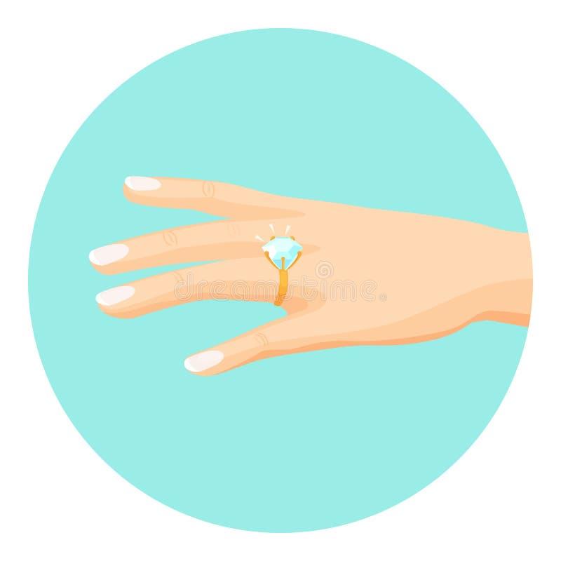 有金刚石定婚戒指的女性手在手指 库存例证