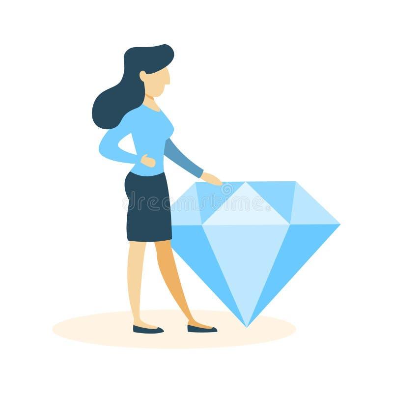 有金刚石的女实业家 向量例证