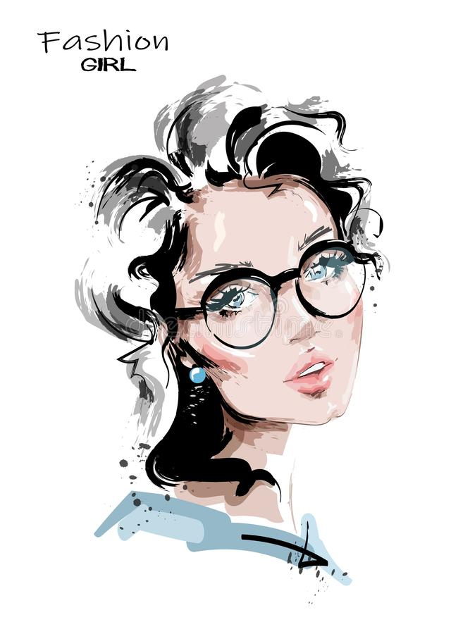 有金发的手拉的美丽的年轻女人 镜片的时髦的女孩 r ?? 向量例证