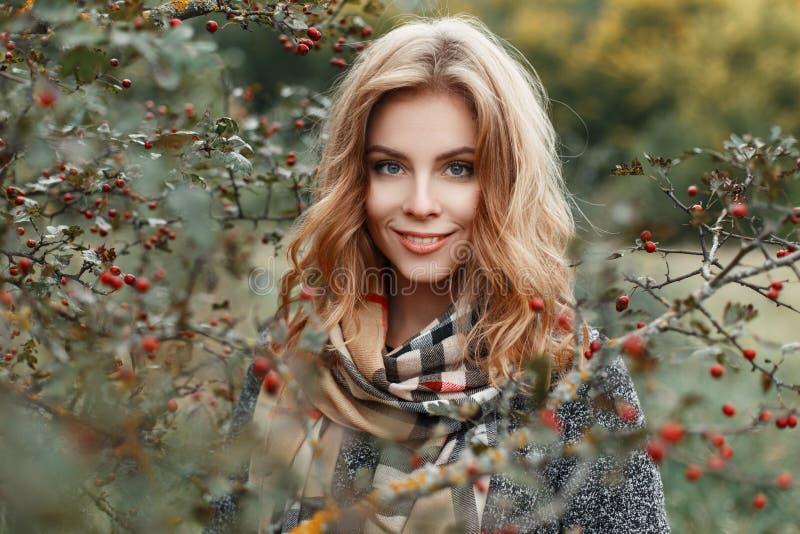 有金发的逗人喜爱的年轻女人有与美好的微笑的蓝眼睛的在葡萄酒方格的围巾的一件时髦的温暖的外套 免版税库存照片