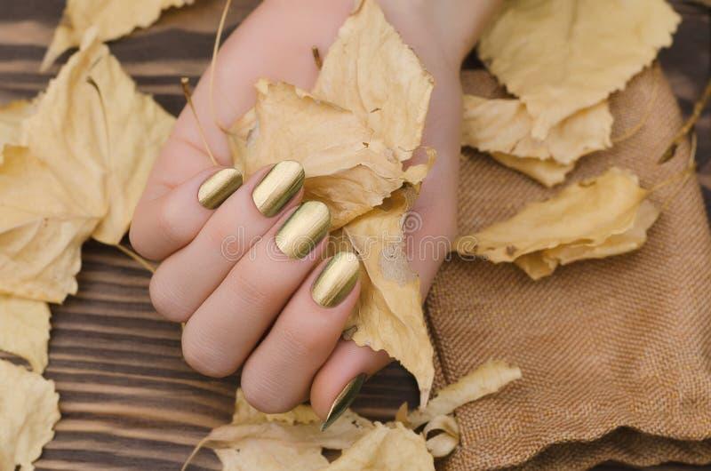 有金变色蜥蜴钉子设计的女性手 库存照片