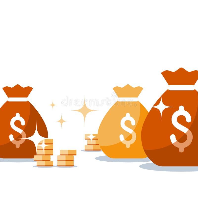 有金子、金钱袋子、事务和财务的,胜利超级奖,抽奖困境,收入,传染媒介例证大袋 向量例证