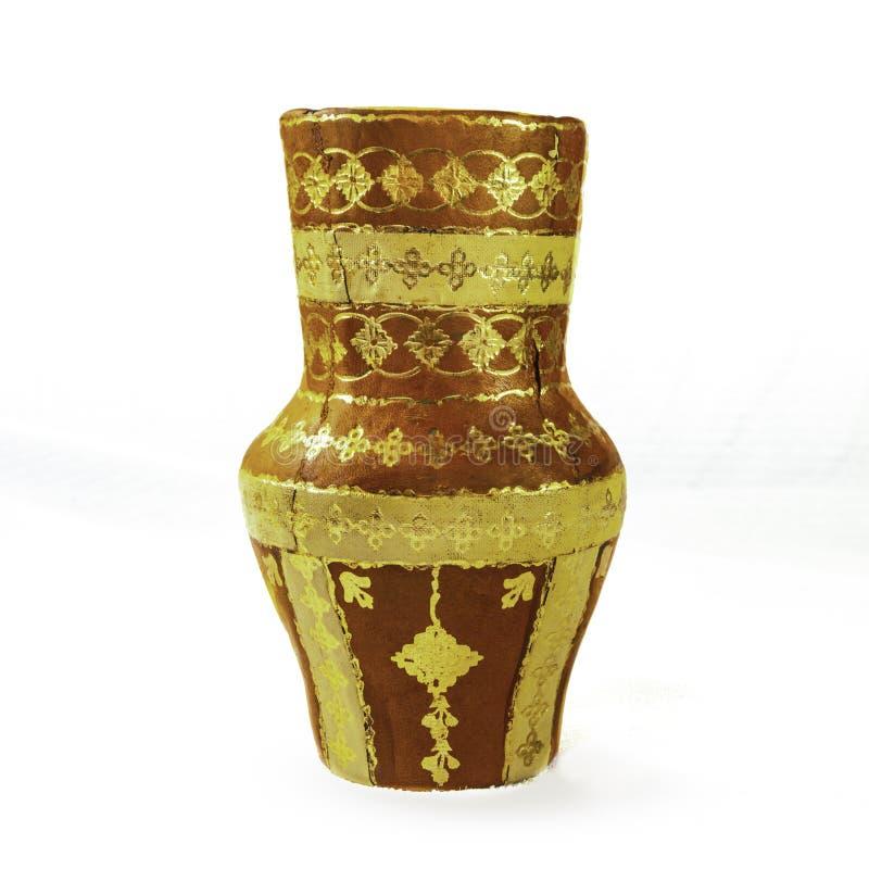 有金子口音的古色古香的墨西哥黏土花瓶 图库摄影