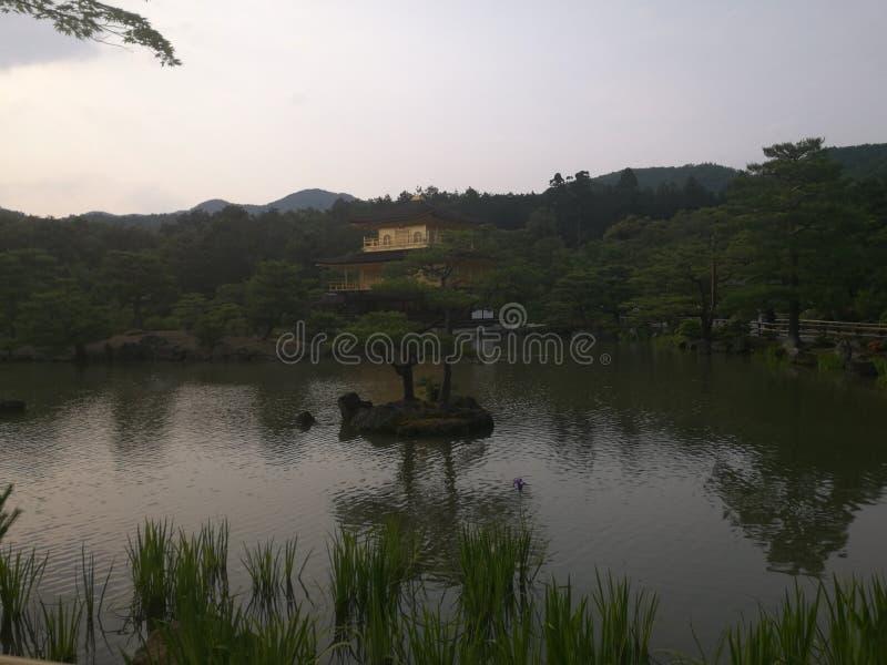 有金寺庙的京都湖 免版税库存照片