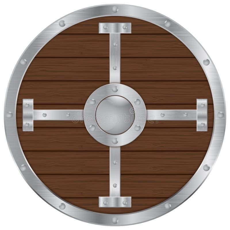 有金属元素的圆的木盾 库存例证