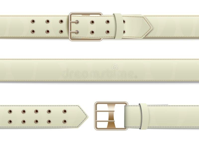 有金属扣的开放和闭合的白革传送带 库存例证