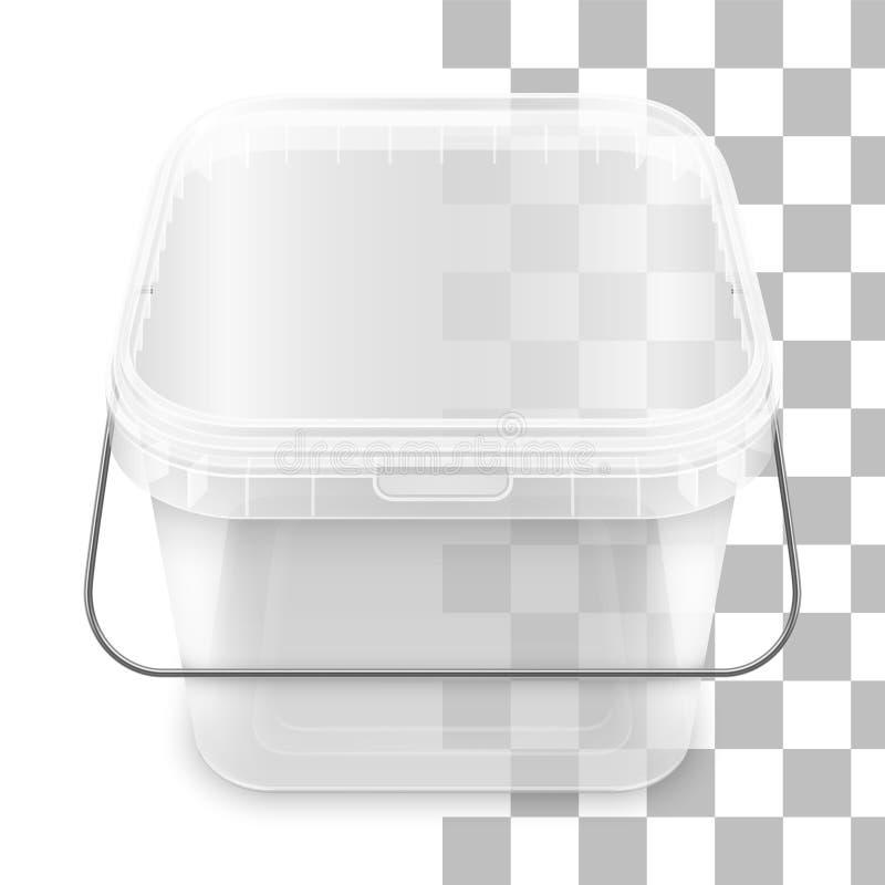 有金属把柄的传染媒介透明正方形空的塑料桶 r 库存例证