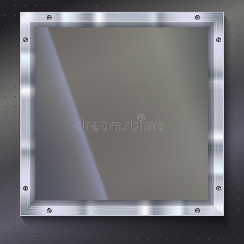 有金属框架的玻璃板 库存例证