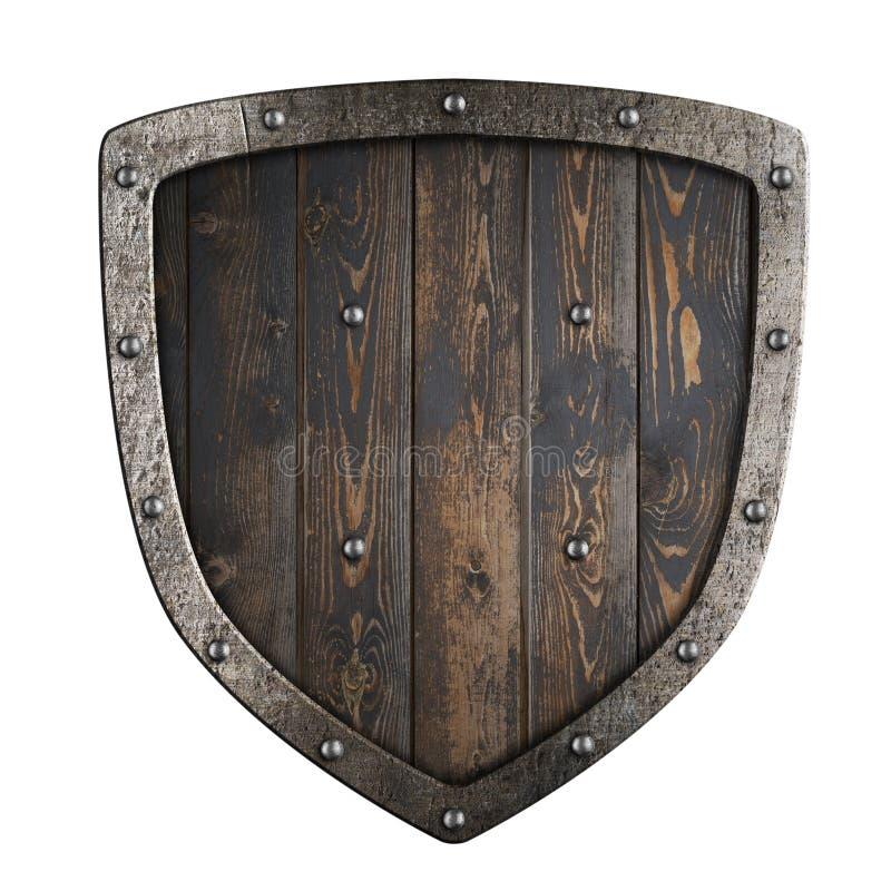 有金属框架3d例证的木中世纪北欧海盗盾 免版税库存照片