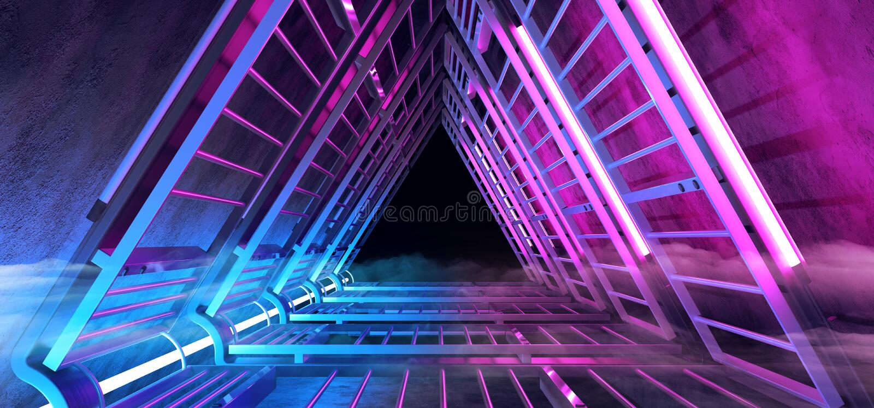 有金属的结构和充满活力黑暗的末端的科学幻想小说未来派烟雾霓虹发光的紫色蓝色三角形状的隧道走廊 向量例证