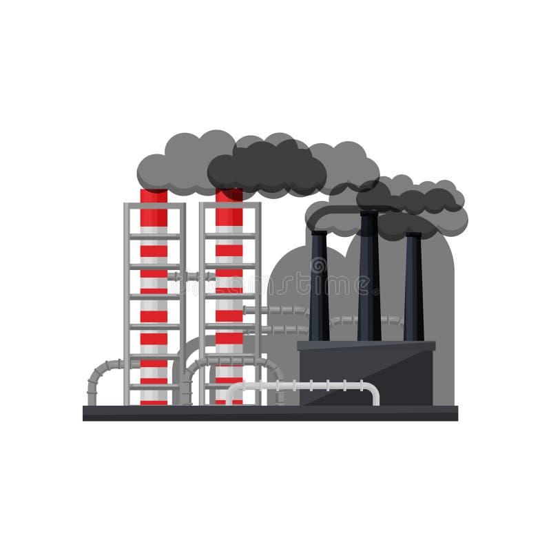 有金属管子和抽烟的烟囱的制造的工厂 中央系统暖气工厂次幂上升暖流 设备行业最新的石油精炼区域 平的传染媒介设计 皇族释放例证