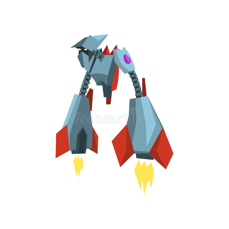 有金属身体的非凡飞行机器人变压器 未来派钢妖怪 玩具店的平的传染媒介设计 向量例证