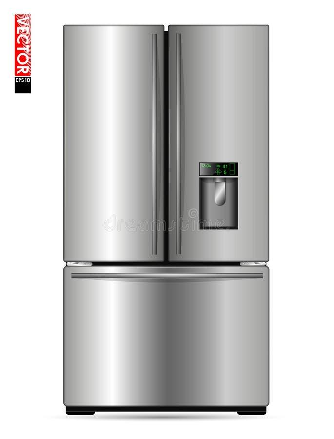 有金属镀层、显示和冷冻机的大二重翼冰箱 适用于说明厨房,产品或 皇族释放例证