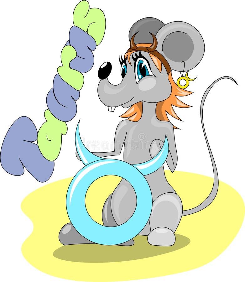 有金牛座的标志的鼠女孩 皇族释放例证