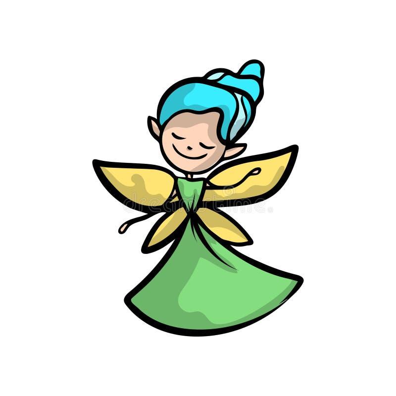 有金翼、蓝色头发和绿色礼服的逗人喜爱的神仙 向量例证