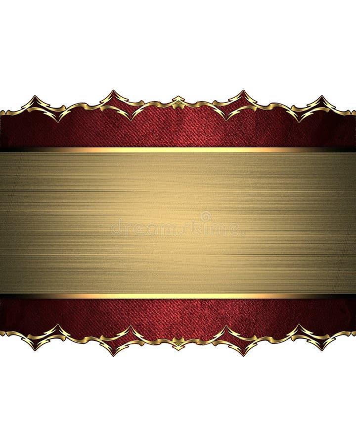 有金装饰品的一个红色箱子构筑的黄色板材 设计的要素 设计的模板 复制广告小册子或anno的空间 免版税库存照片