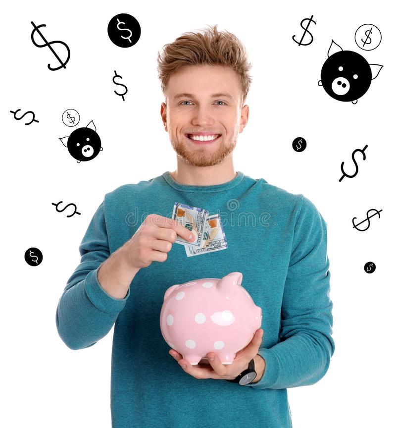 有金钱和存钱罐的愉快的年轻人 库存例证