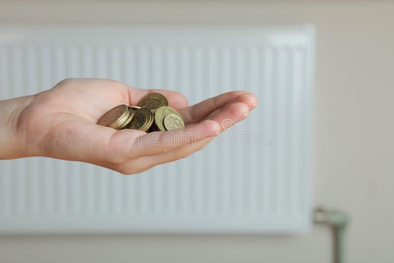 有金钱和热电池的手 免版税库存照片