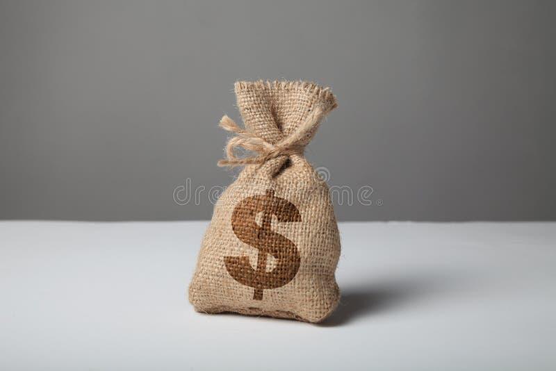 有金钱和美元剪影的大袋在灰色背景 财富和成功的标志 库存图片