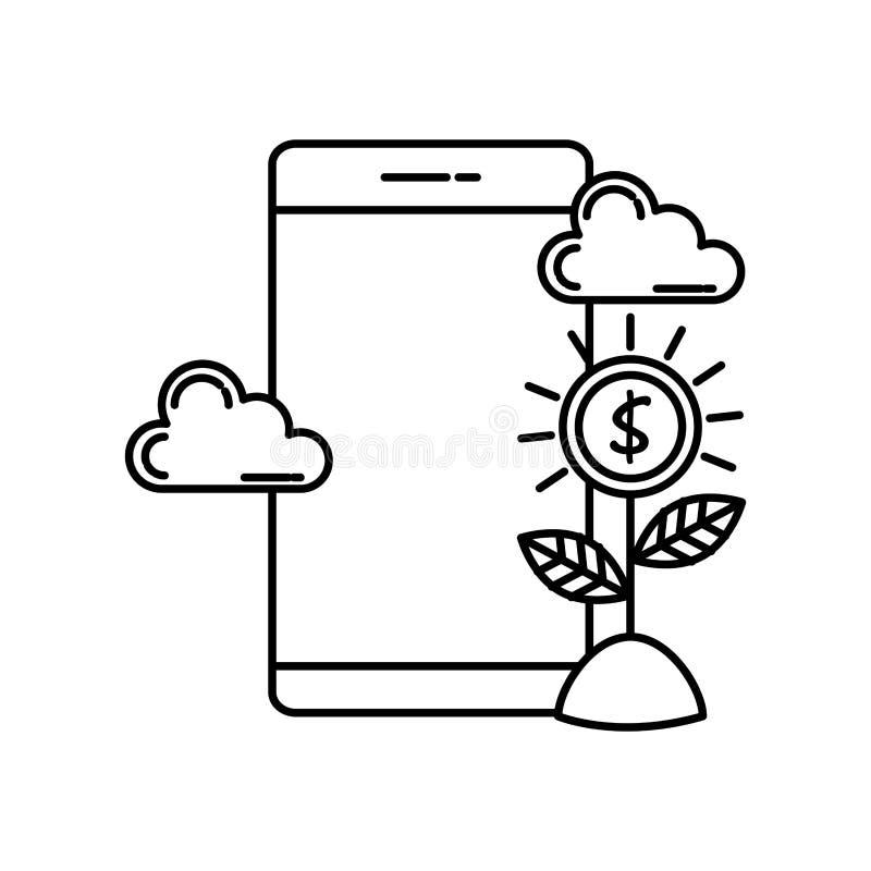 有金钱标志的智能手机 库存例证