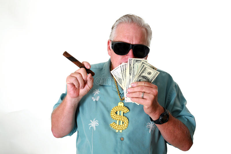 有金钱的一个人 一个人赢取金钱 一个人有金钱 一个人嗅金钱 一个人爱金钱 一个人和他的金钱 一个人是富有的 A 免版税库存图片
