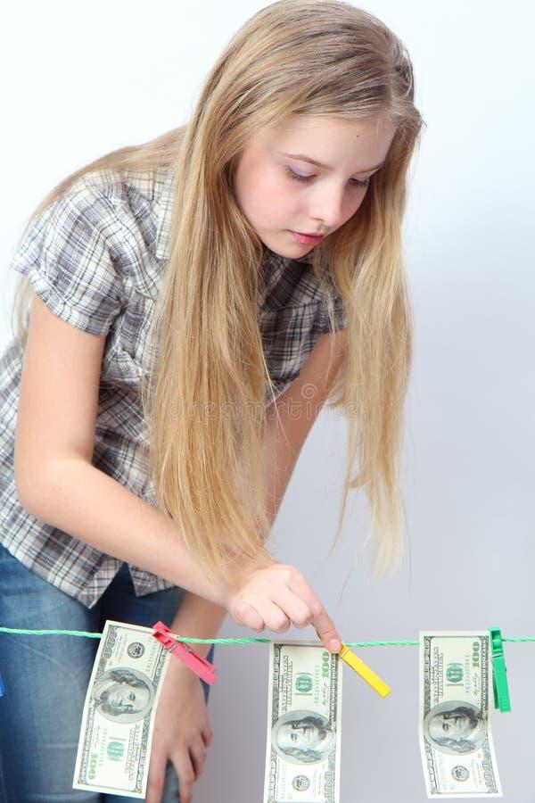 有金钱的女孩 库存图片