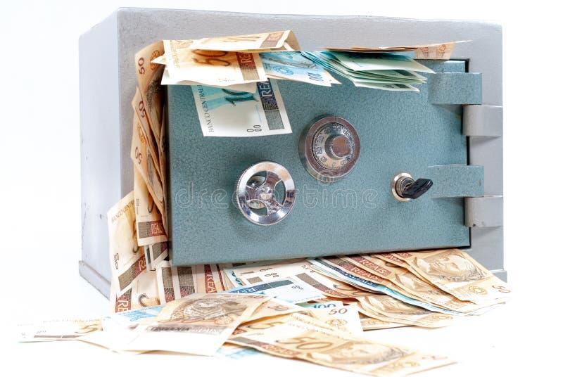 有金钱的保险柜 图库摄影