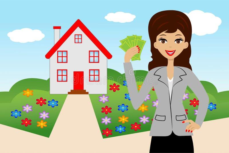 有金钱的少妇在背景的手上一个新房 库存例证
