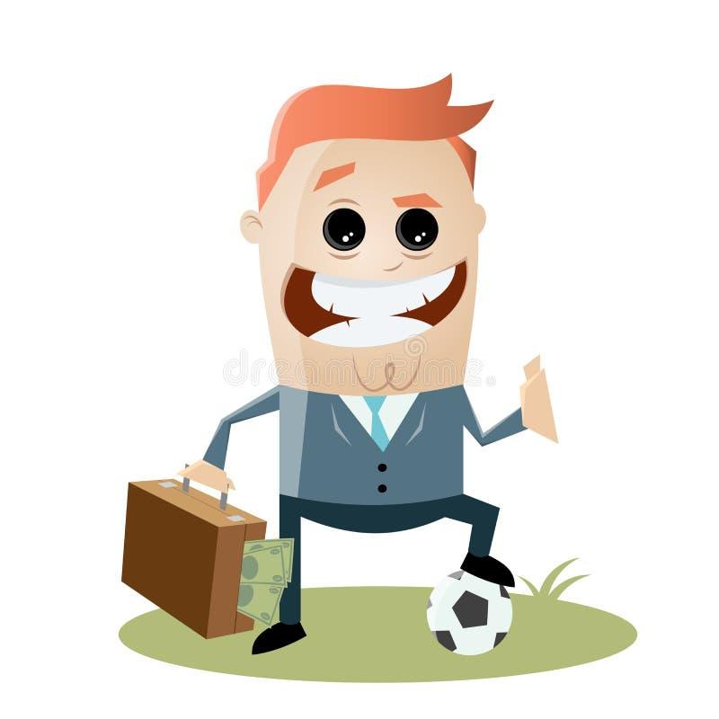 有金钱的腐败橄榄球经理在他的袋子 库存例证