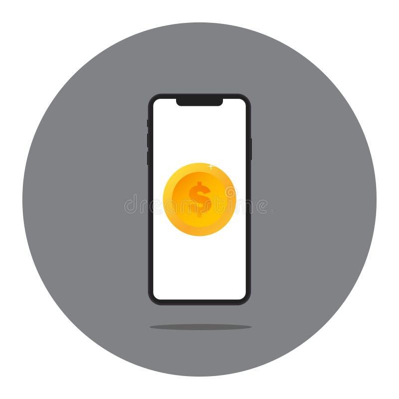 有金钱的透明手机屏幕 保证的概念帐户,财政独立,做广告现金流动 向量 皇族释放例证