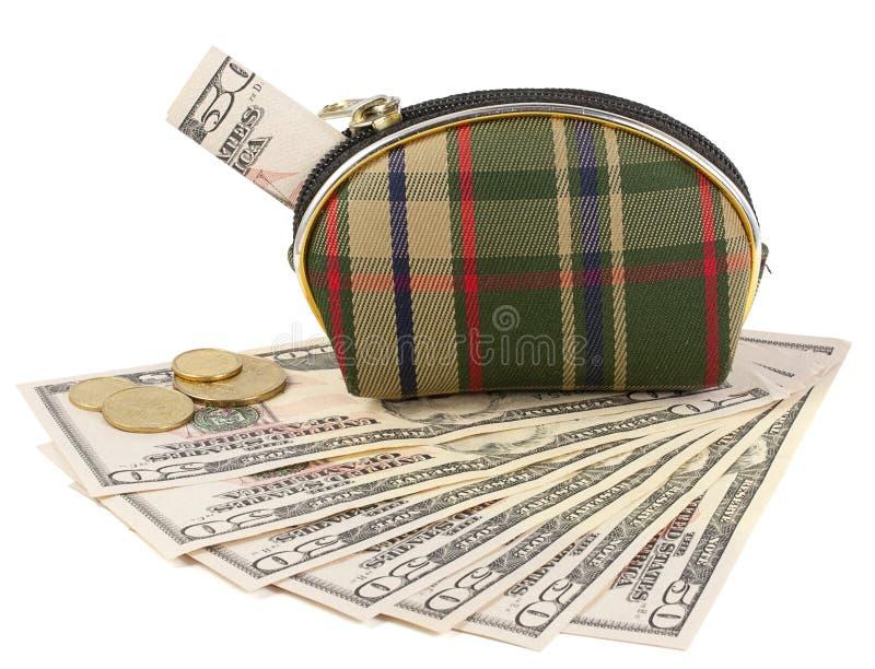 有金钱的钱包 库存图片