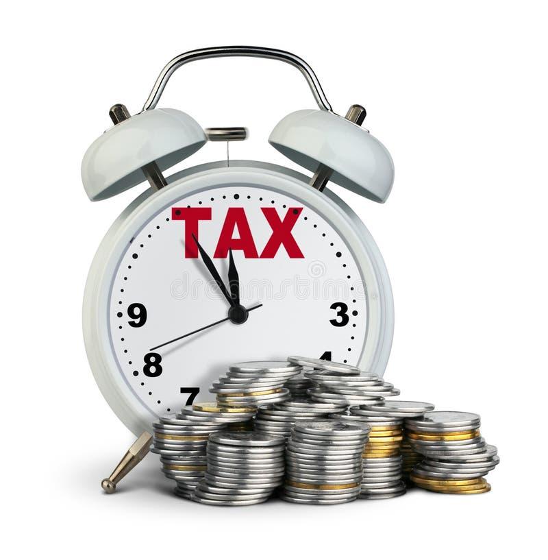 有金钱的,税在白色的时间概念闹钟 库存例证